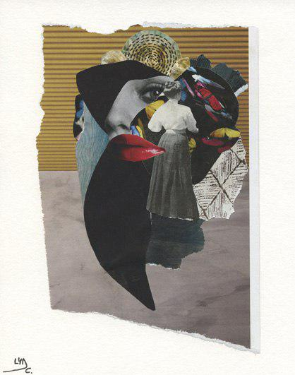 "Original collage. Series: Modern valkyries. Title: Amaranta, the one that tells about the past. Size: 5.9"" x 7.3"""