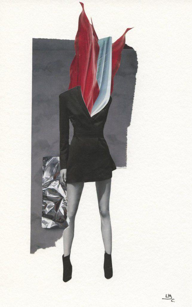 "Original collage. Series: Modern valkyries. Title: Aurea, herald of the future. Size: 7.5"" x 11.4"""