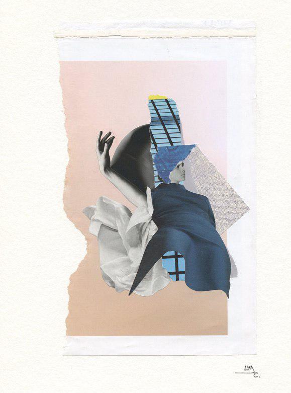 "Original collage. Series: Modern valkyries. Title: Irina, dreams maker. Size: 8.1"" x 11.8"""