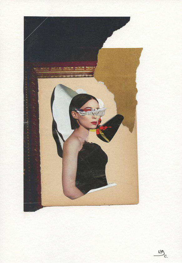 "Original collage. Series: Modern valkyries. Title: Margot, the one that makes us remember what is important. Size: 8.3"" x 11.4"""